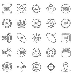 360 degrees outline icons 360 degree vector image