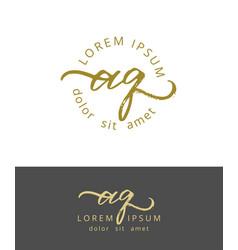 A q initials monogram logo design dry brush vector