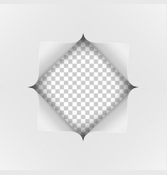 a square hole cut into a white piece paper vector image