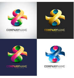 abstract 3d logo template for your company brand vector image