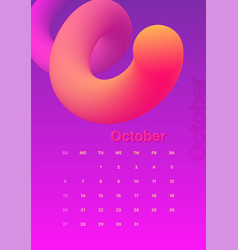 abstract minimal calendar design for 2019 october vector image