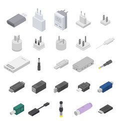 Adapter icons set isometric style vector