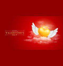 angel heart with wings in clouds vector image