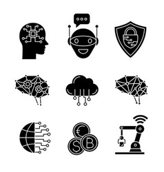 artificial intelligence glyph icons set vector image