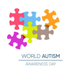 autism awareness day design with puzzle pieces vector image