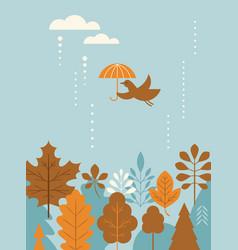 autumn banner card bird flying with umbrella vector image