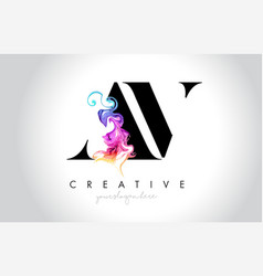 Av vibrant creative leter logo design with vector