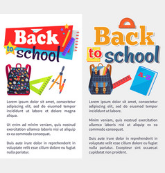 Back to school set of stickers on white and grey vector
