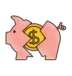Banking piggy broken coin dollar crisis vector