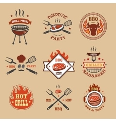 Barbecue grill labels badges Bbq logos vector