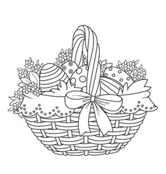 basket with easter eggs and flowers outlined vector image