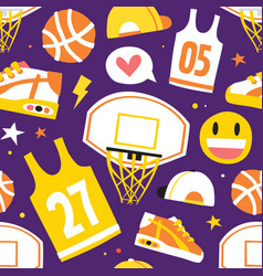 Basketball hand drawn cartoon objects seamless vector