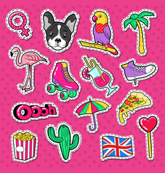 Beach vacation doodle young woman stickers vector