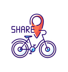 Bicycle sharing system rgb color icon vector