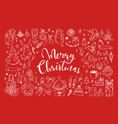 big set christmas design doodle elements 3 vector image