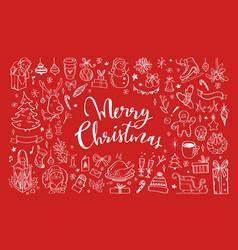 big set of christmas design doodle elements 3 vector image