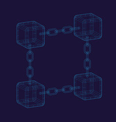 Blockchain blue background vector