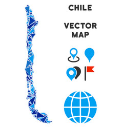 Blue triangle chile map vector