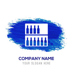 Bottles on bar counter icon - blue watercolor vector