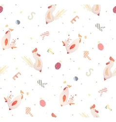 bright children pattern with roosters and letters vector image