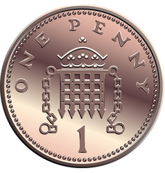 British money coin one penny vector