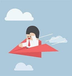 Businessman is flying on paper airplane and lookin vector image