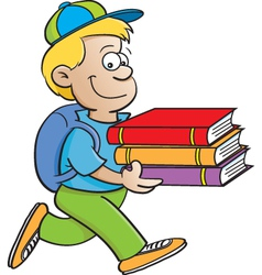 Cartoon Boy Carrying Books vector image