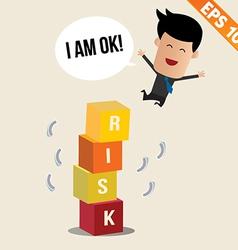 Cartoon Businessman jump off risk block vector