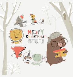 cartoon happy animals celebrating christmas in the vector image