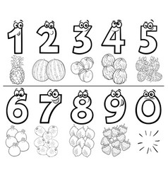 Cartoon numbers set coloring book page with fruits vector