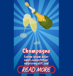 Champagne concept banner comics isometric style vector
