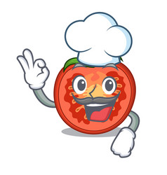 Chef cartoon tomato slices on chopping board vector