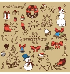 Christmas set doodles vector image