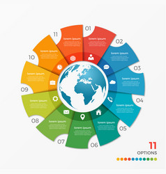 Circle chart infographic template with globe 11 vector