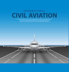 civil passenger airliner jet on runway commercial vector image