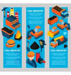 Coal Industry Isometric Banners vector image