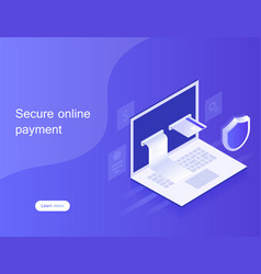 Concepts online payments via laptop vector