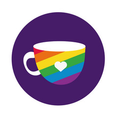 cup with gay pride flag block style vector image