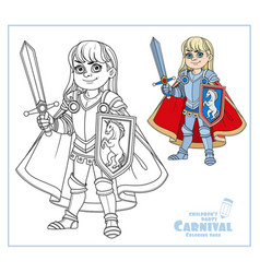 Cute boy in knight or paladin in armor costume vector