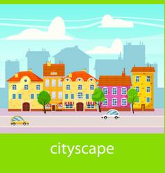 cute cityscape beautiful houses cartoon style vector image