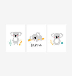 cute posters with little koala prints vector image