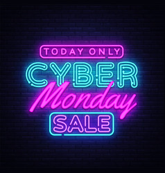 cyber monday banner in fashionable neon style vector image