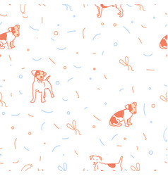 Dog seamless christmas pattern vector