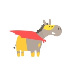Donkey Smiling Animal Dressed As Superhero With A vector image