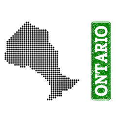 Dotted map of ontario province and grunge vector