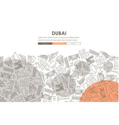Dubai doodle website template design vector