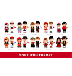 Europeans in national clothes southern europe vector