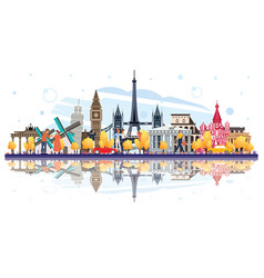 Famous landmarks in europe with reflections vector