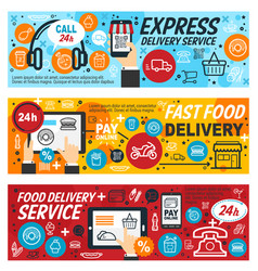 Fast food restaurant online order and delivery vector
