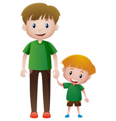 Father and son holding hands vector